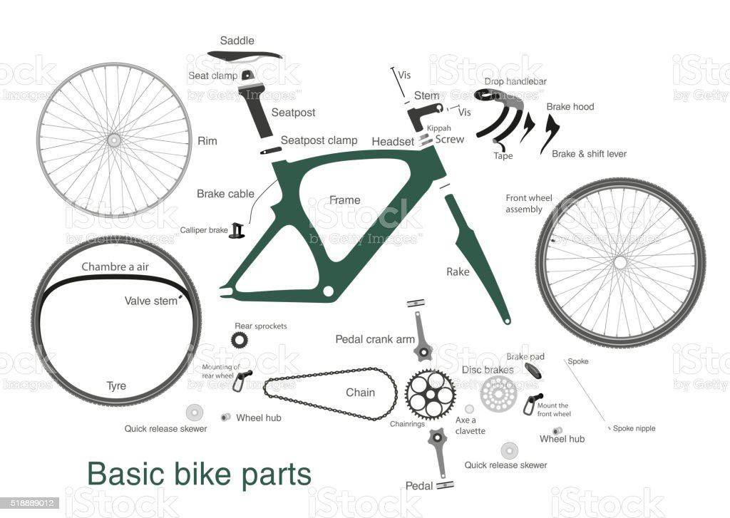 infographic of main bike parts with the names vector art illustration