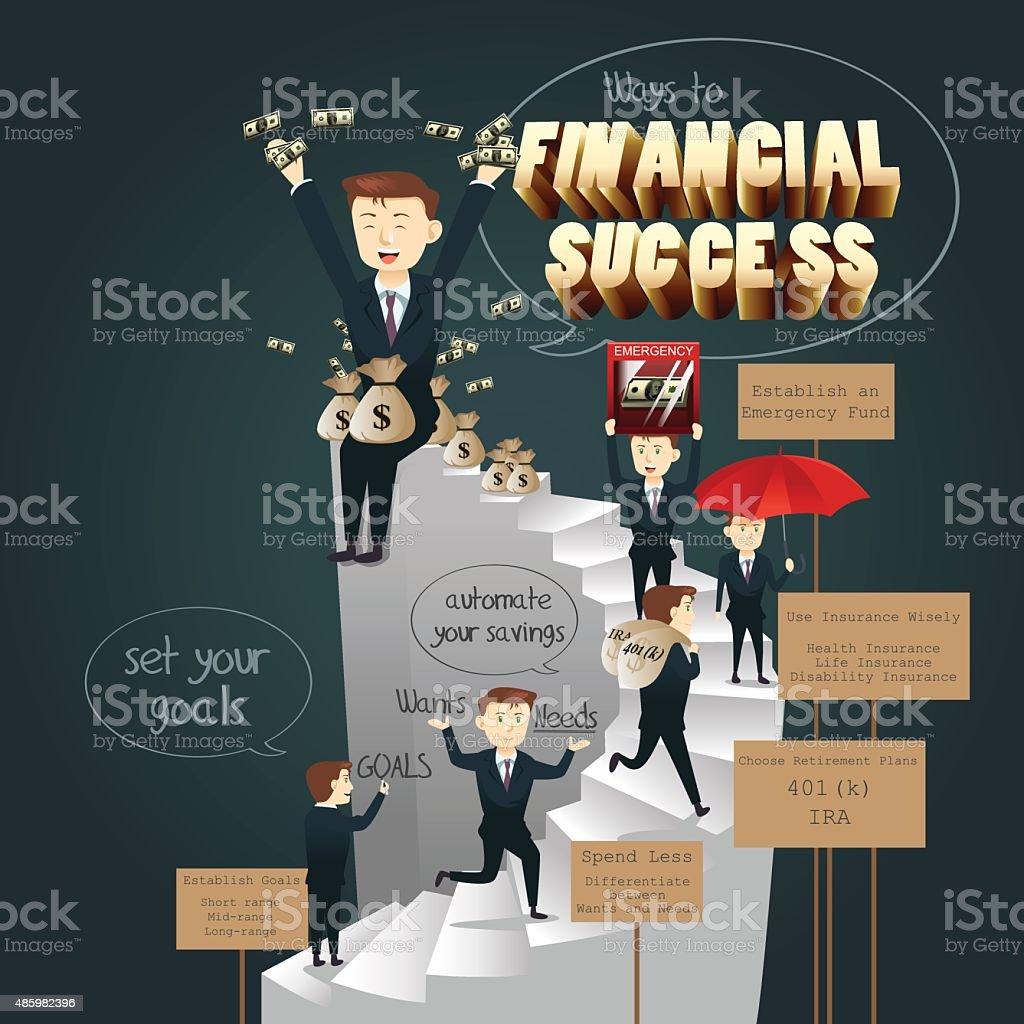 Infographic of Ways to Financial Success vector art illustration