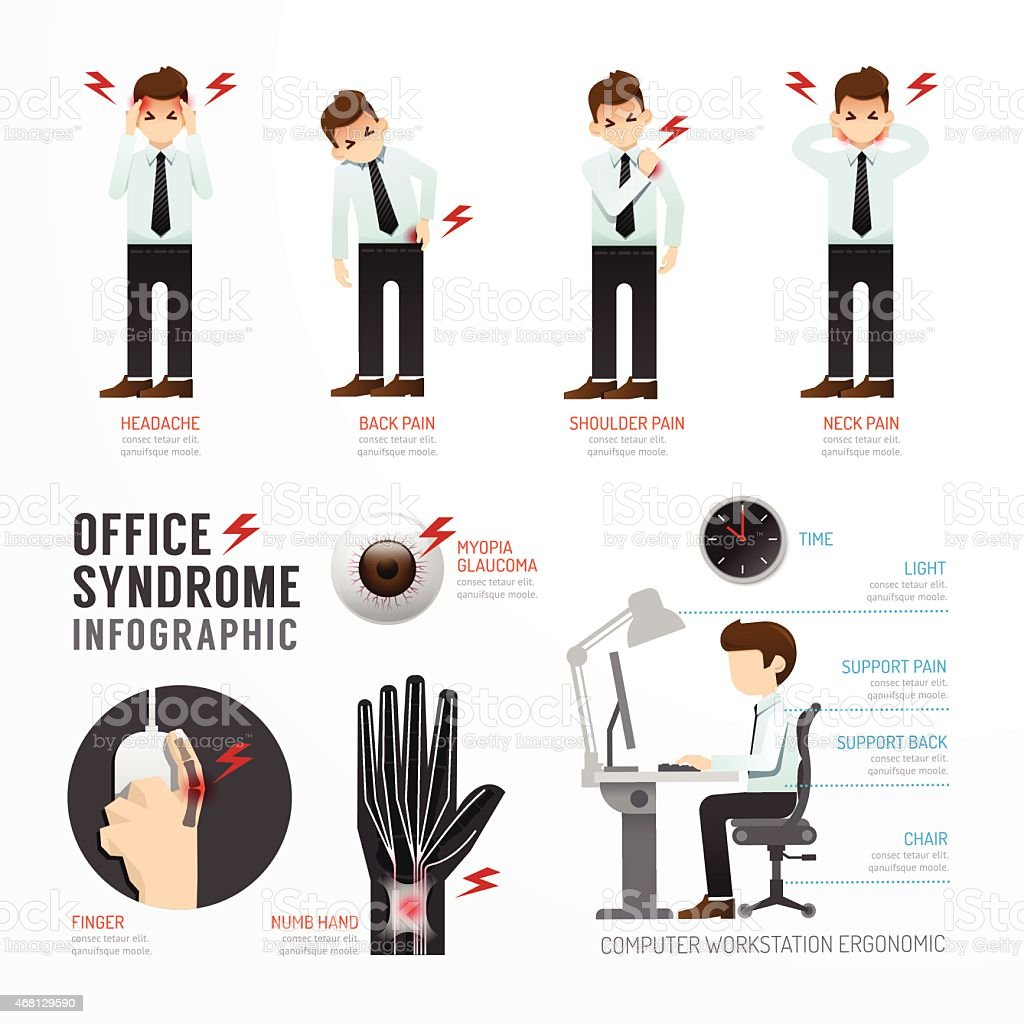 Infographic office syndrome Template Design . Concept Vector vector art illustration
