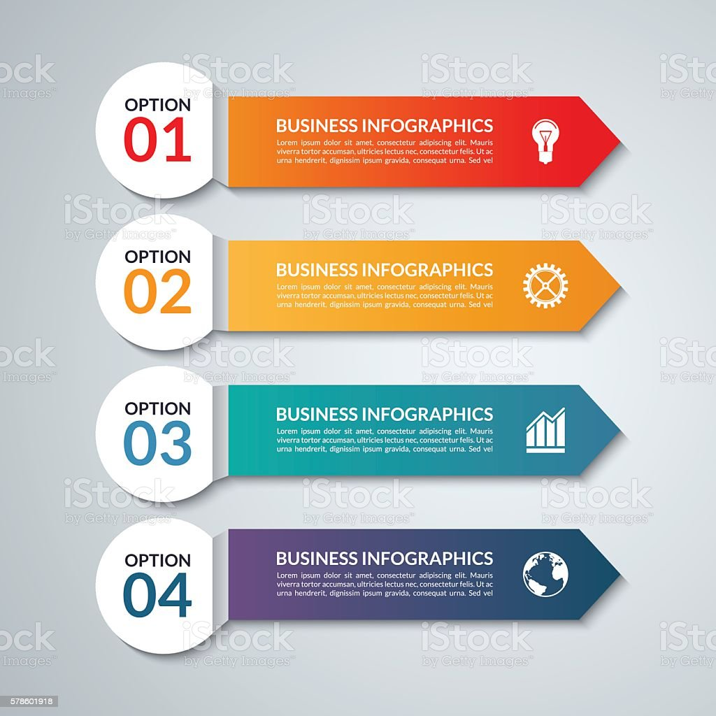 Infographic options banner with 4 arrows, steps, parts vector art illustration