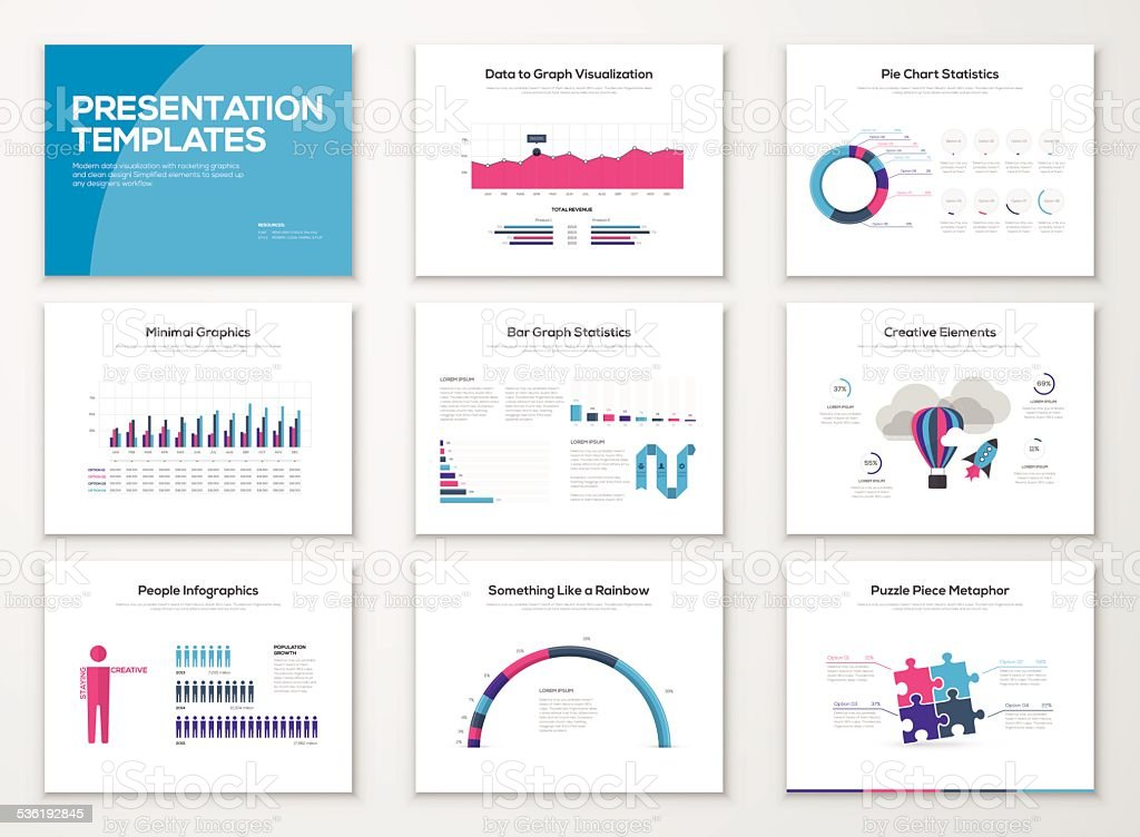 Infographic presentation slide templates and business vector brochures vector art illustration