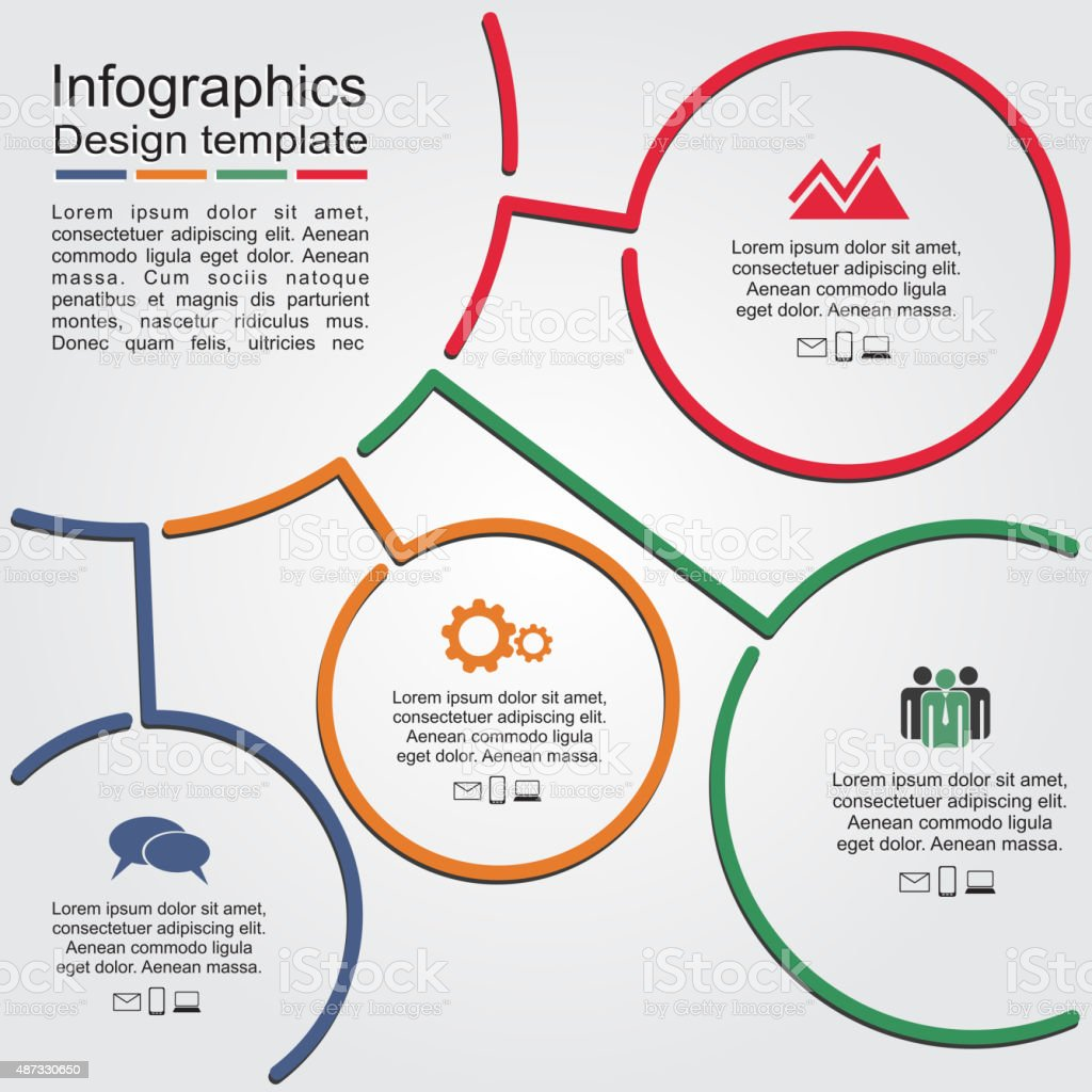 Infographic report template with lines and icons. Vector vector art illustration
