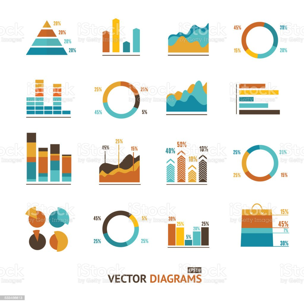 Infographic set elements, graph, diagrams. vector art illustration