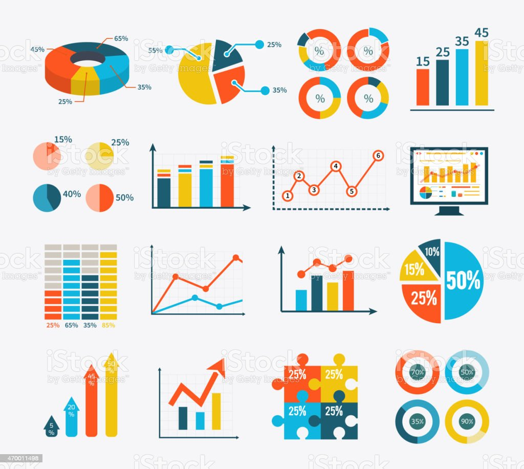 Infographic Set Graph and Charts, Diagrams vector art illustration