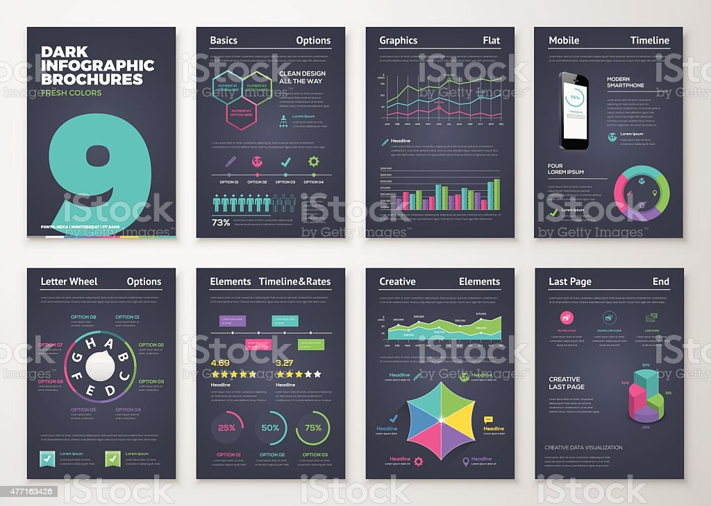 Infographic set with colorful business vector elements vector art illustration