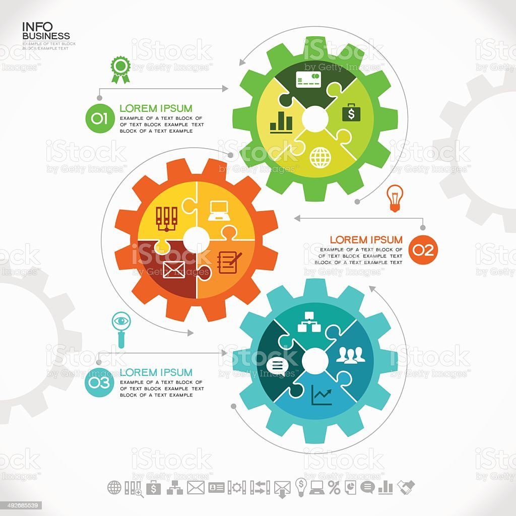 Infographic showing gears with puzzle pieces vector art illustration