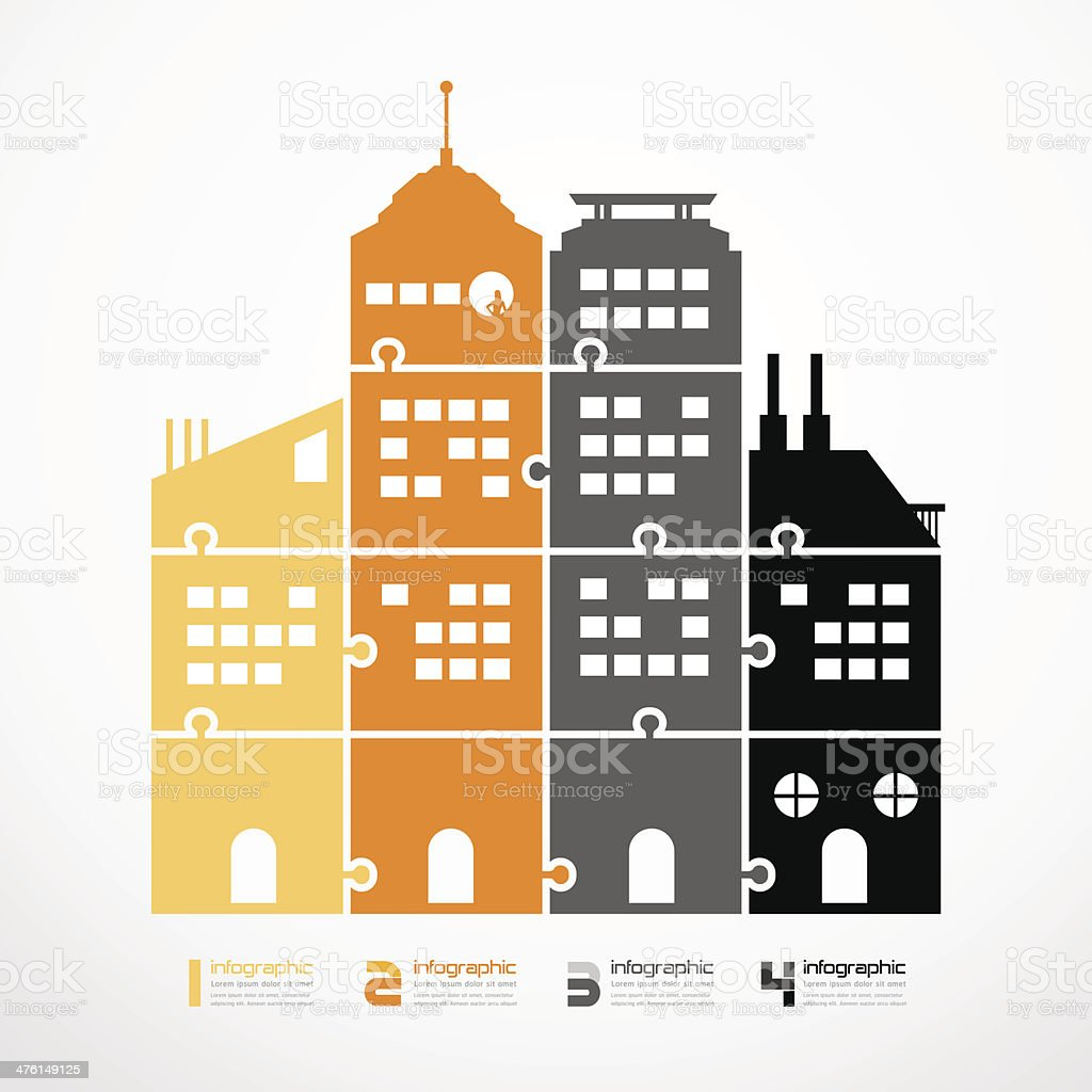 infographic Template city tower jigsaw banner. royalty-free stock vector art