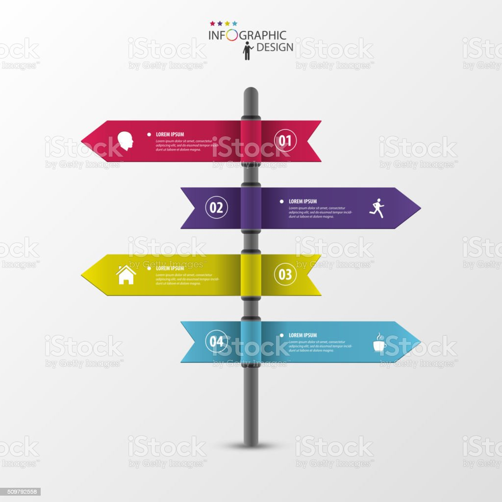 Infographic template of multidirectional pointers on a signpost vector art illustration