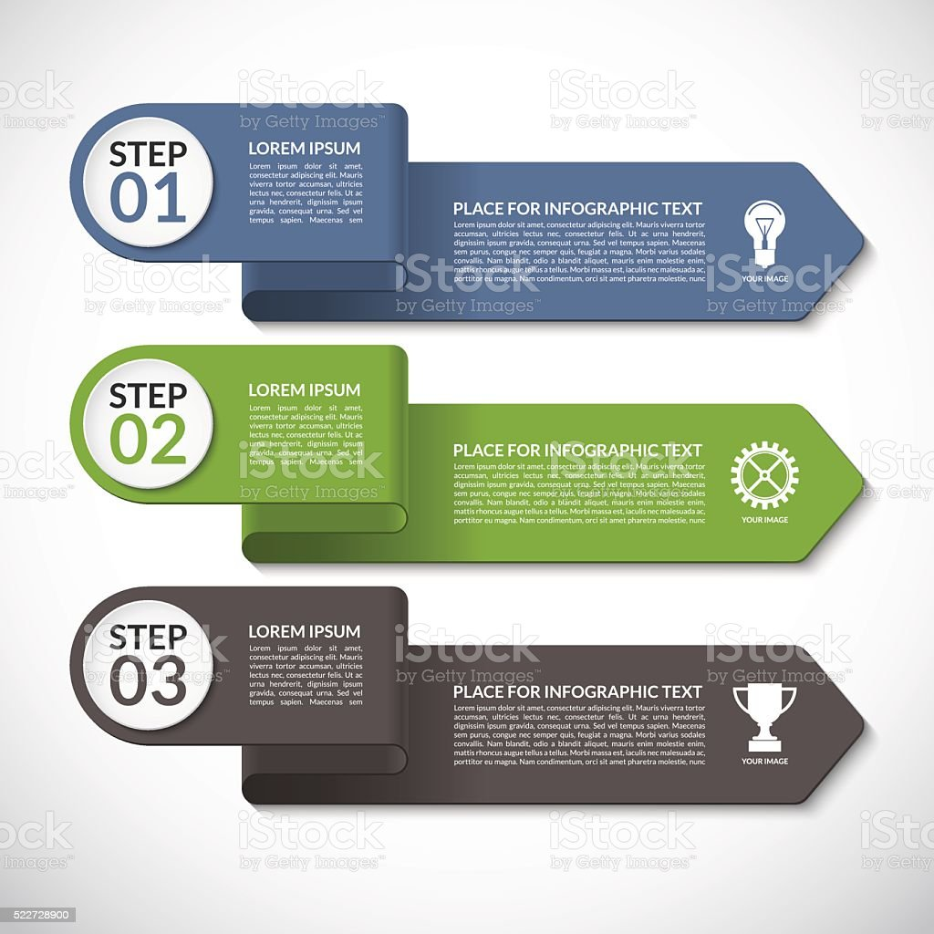 Infographic template. Vector banner with 3 steps, parts, options, arrows vector art illustration