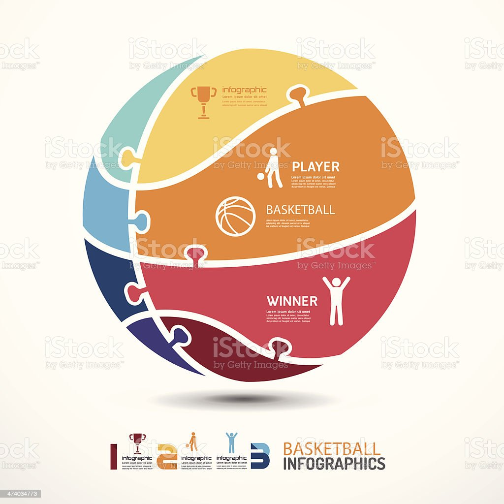 infographic Template with basketball jigsaw banner royalty-free stock vector art