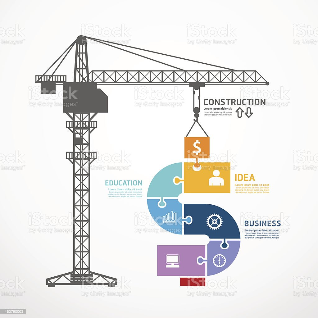 infographic Template with construction tower crane jigsaw banner. vector art illustration