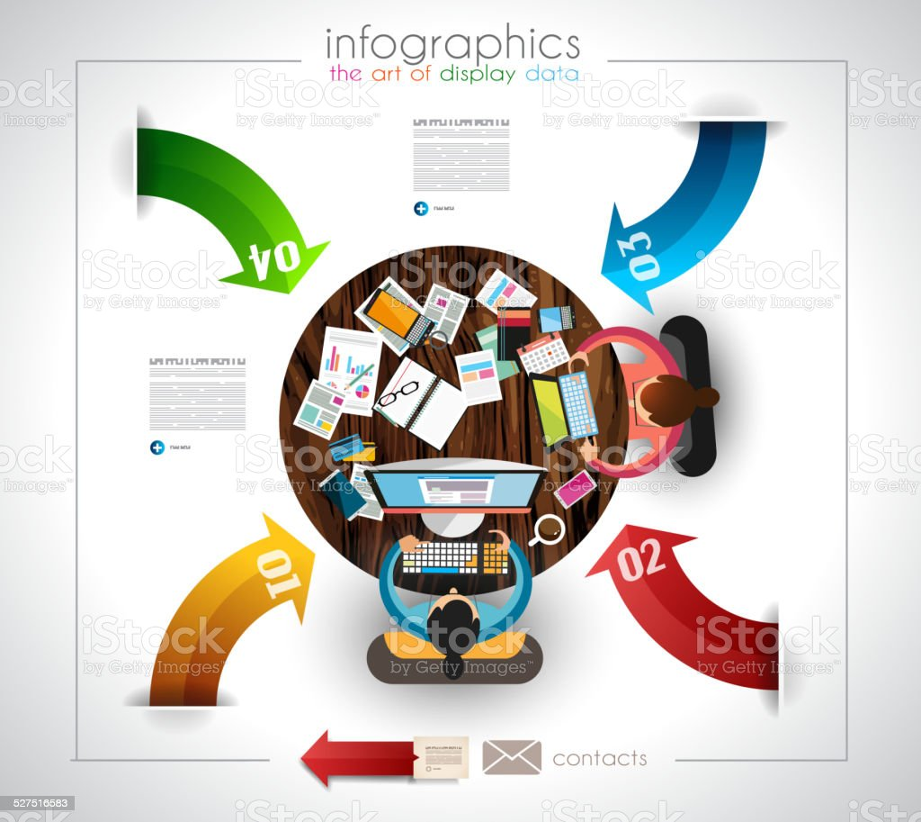 Infographic template with flat UI icons for ttem ranking vector art illustration