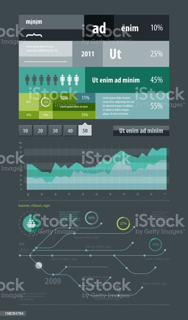 Infographic template with graphs and charts royalty-free stock vector art