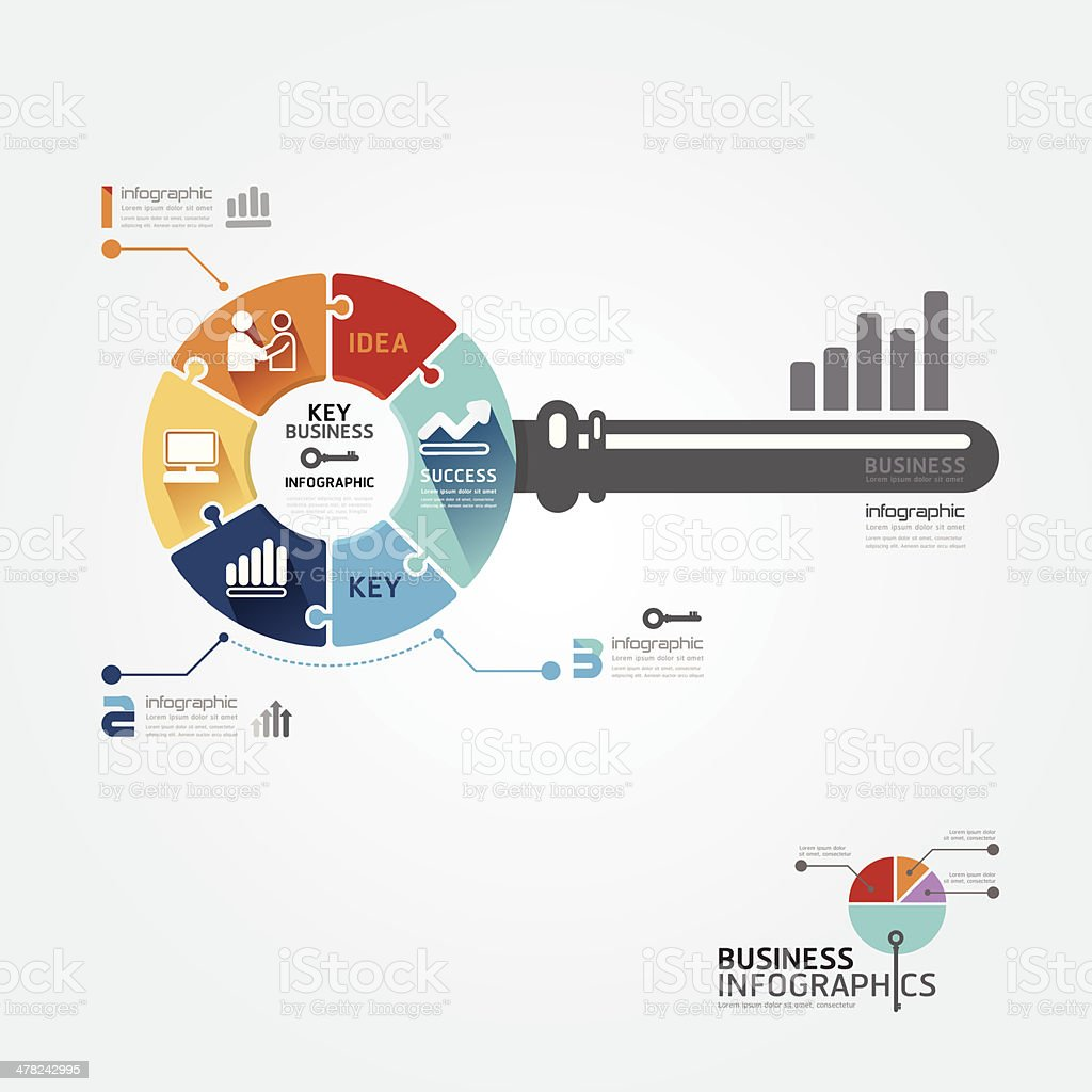 Infographic Template with key business jigsaw banner. vector art illustration