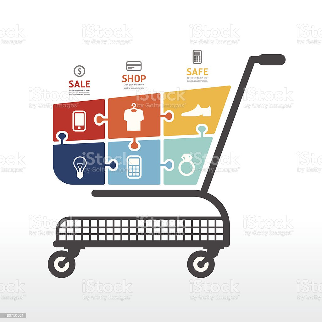 infographic Template with Shopping cart  jigsaw banner . vector art illustration