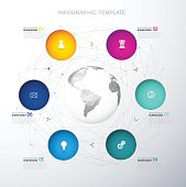 Infographic template with six colorful circles