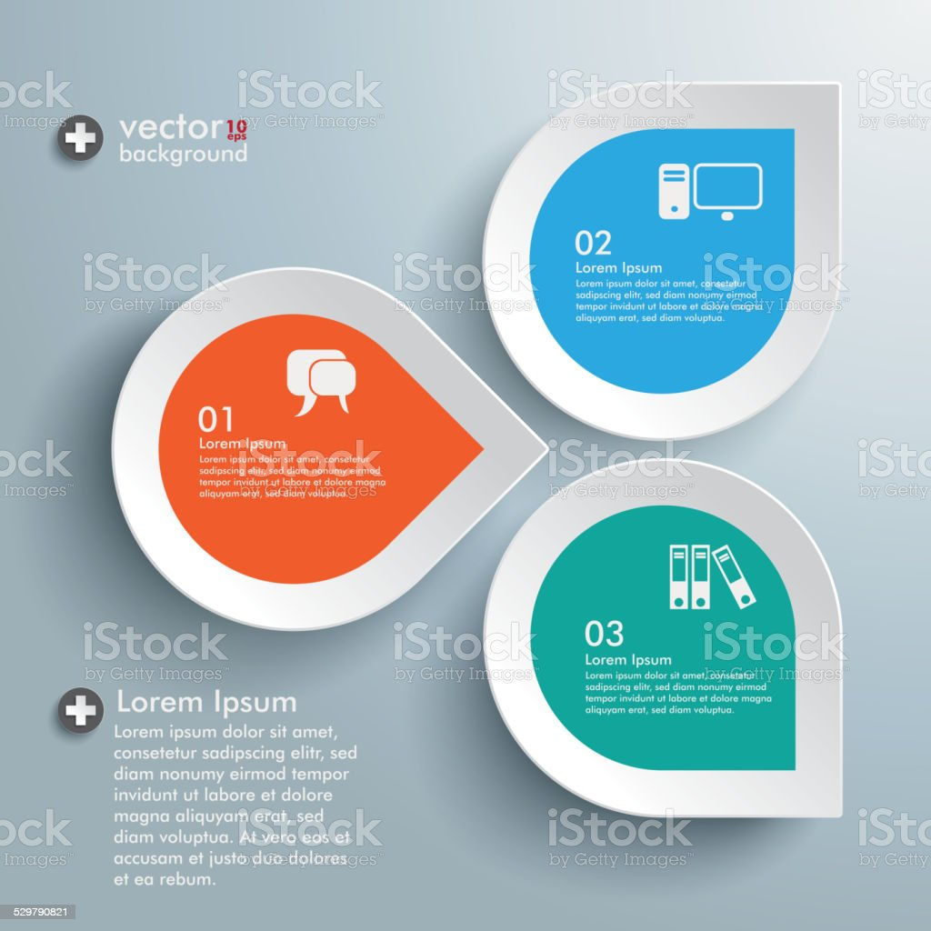 Infographic Three Colored Drops vector art illustration