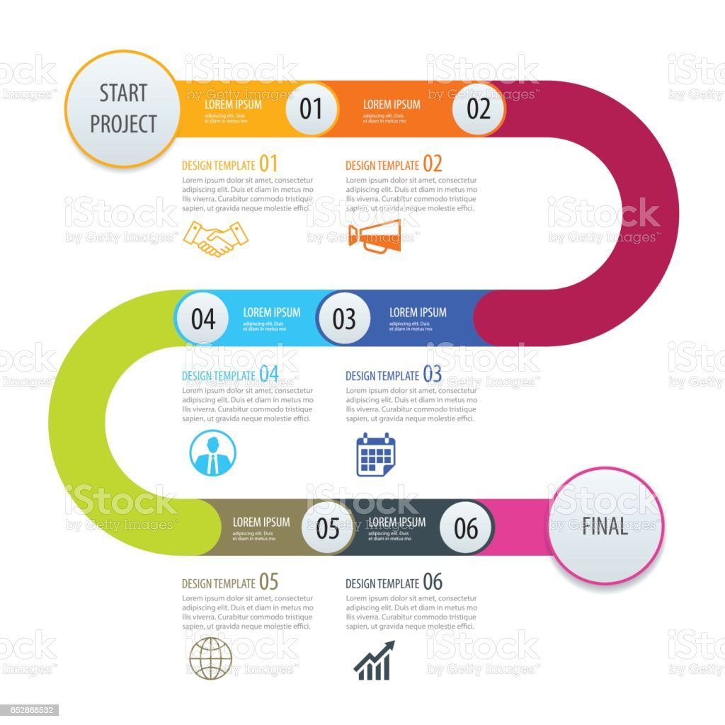 Infographic timeline template business concept arrows.Vector can be used for workflow layout, diagram, number step up options, web design vector art illustration