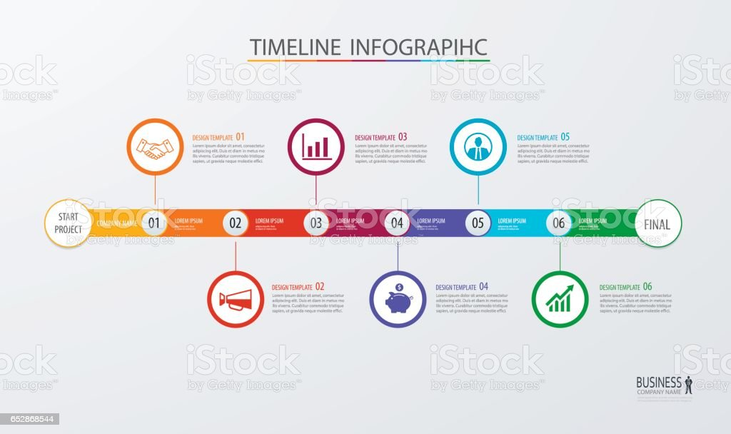 Infographic Timeline Template Business Conceptvector Can Be Used