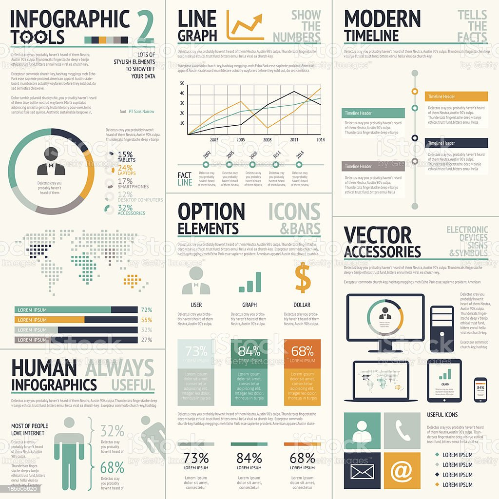 Infographic tools big set vector vector art illustration