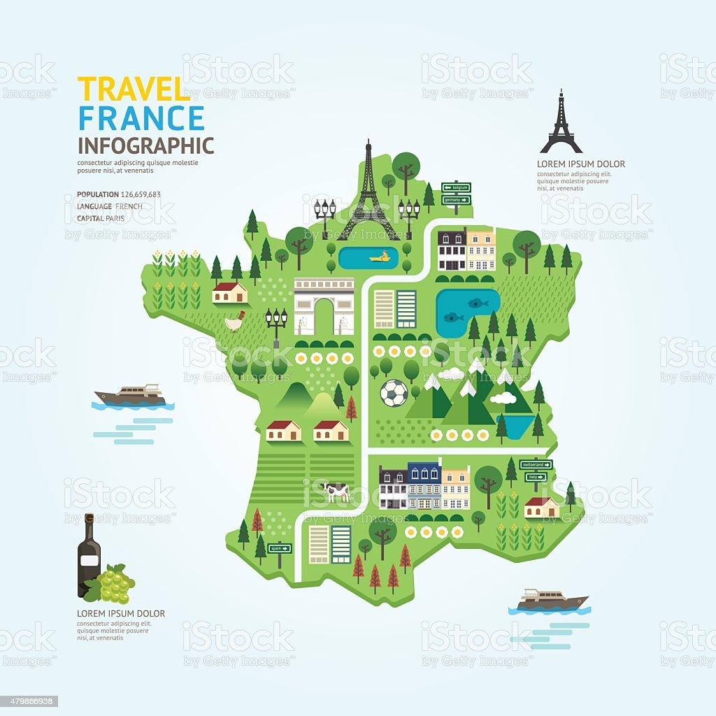Infographic travel and landmark france map shape template design vector art illustration