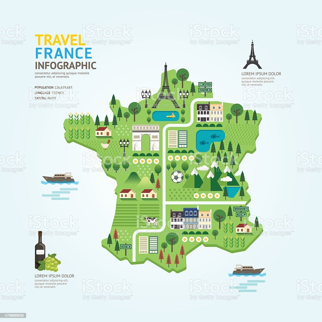 Infographic travel and landmark france map shape template design vector art illustration