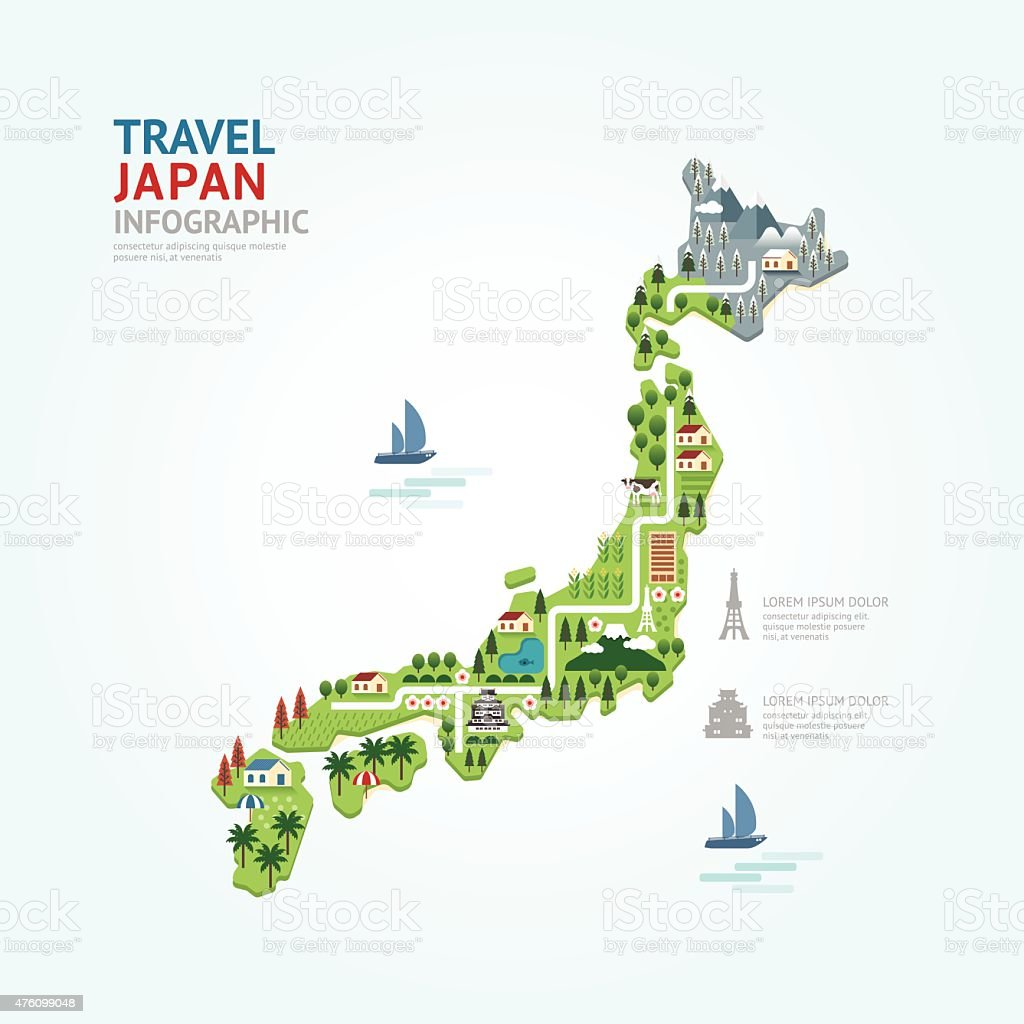 Infographic travel and landmark japan map shape template design. vector art illustration
