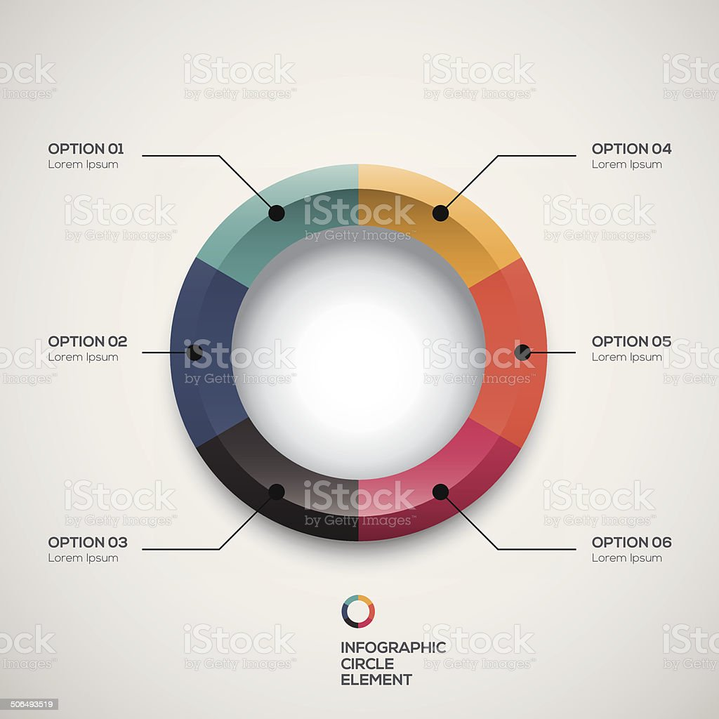 Infographic ui styled business pie chart and vector options vector art illustration