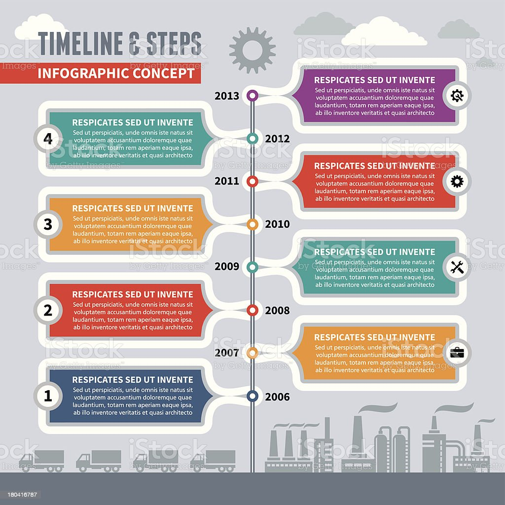 Infographic Vector Concept - Timeline & Steps vector art illustration