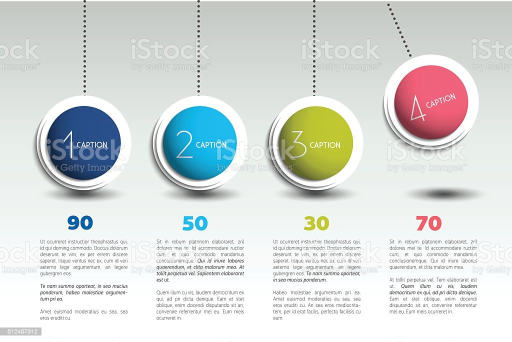 Infographic vector option banner with pendulum. Color spheres, balls, bubbles. vector art illustration
