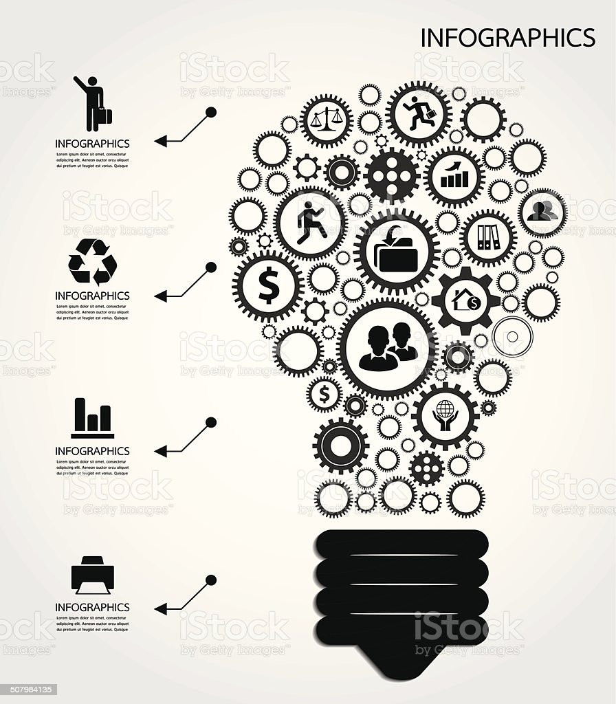 Infographic with gears vector art illustration