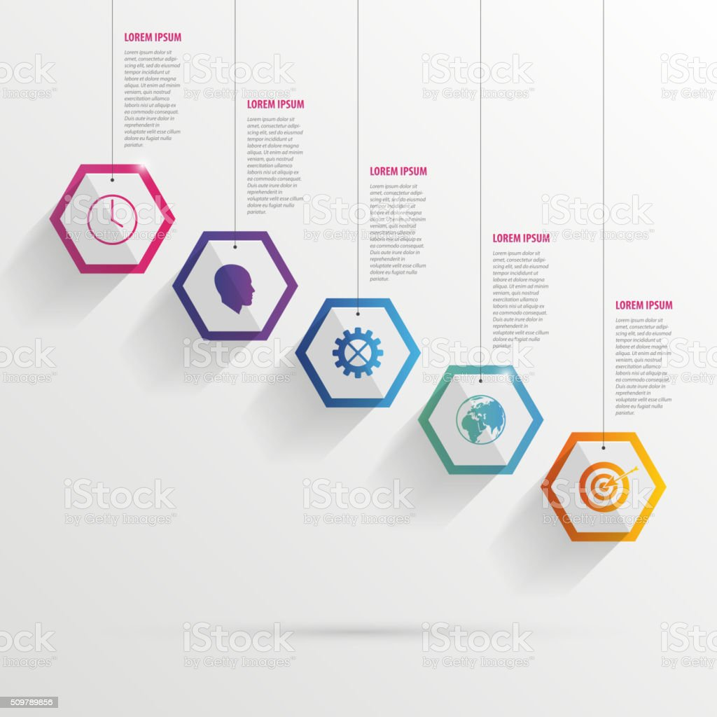 Infographic with hexagons on the grey background vector art illustration