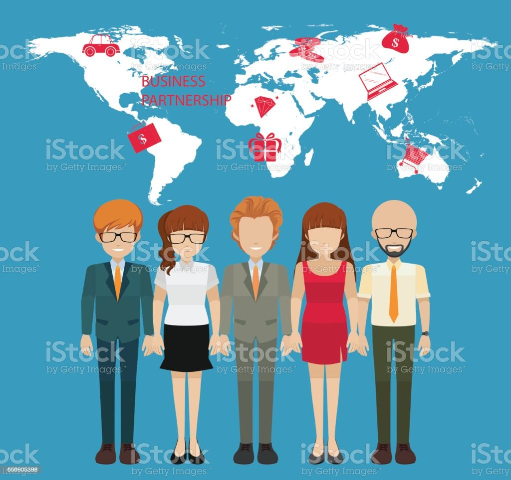 Infographic with people and business partnership vector art illustration