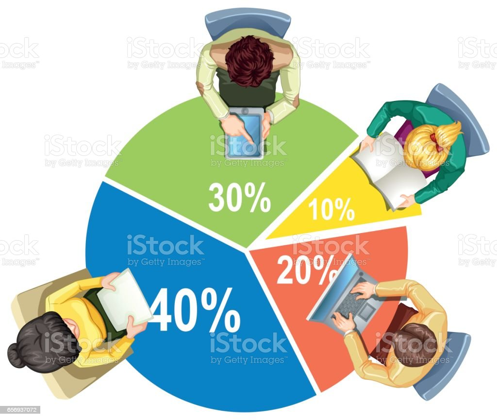 Infographic with piechart and business people vector art illustration