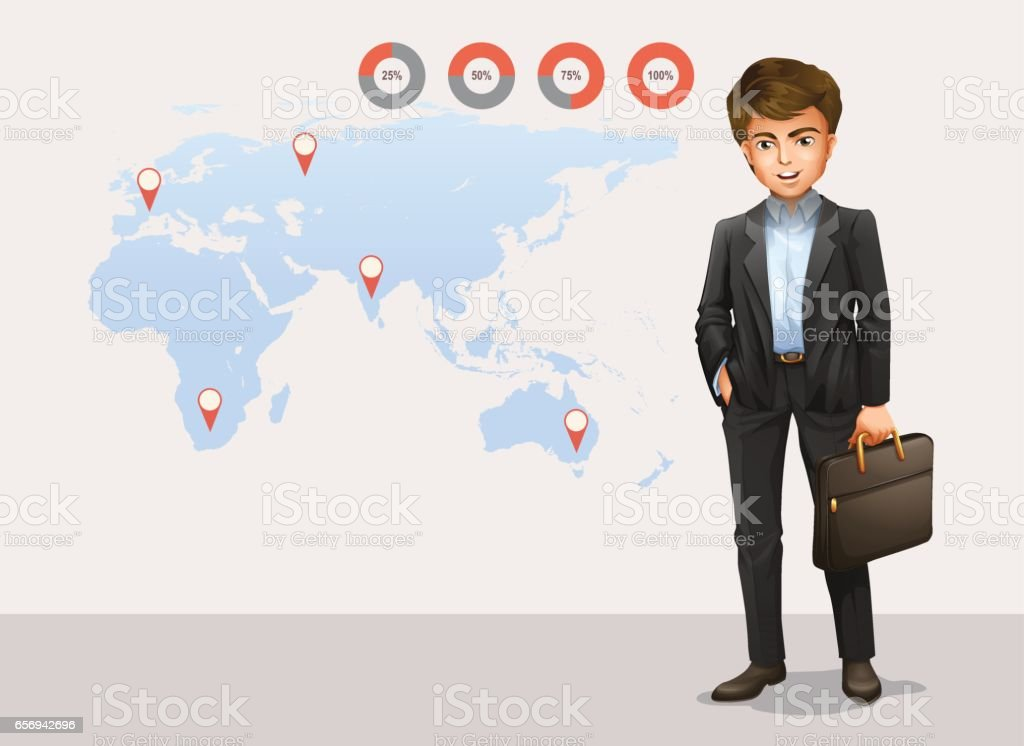 Infographic with world map and businessman vector art illustration
