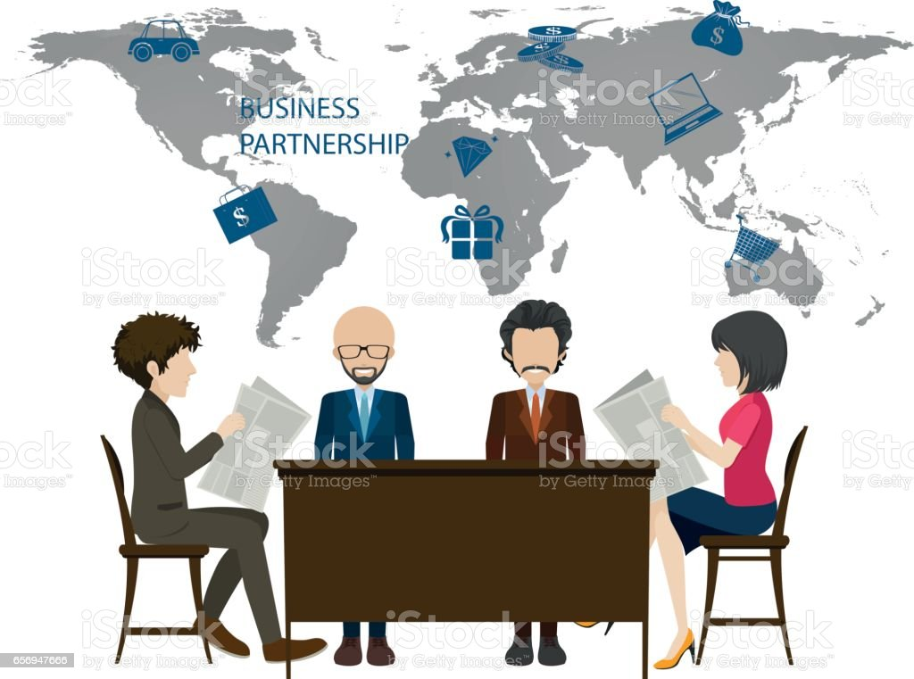 Infographic with worldmap and business people vector art illustration