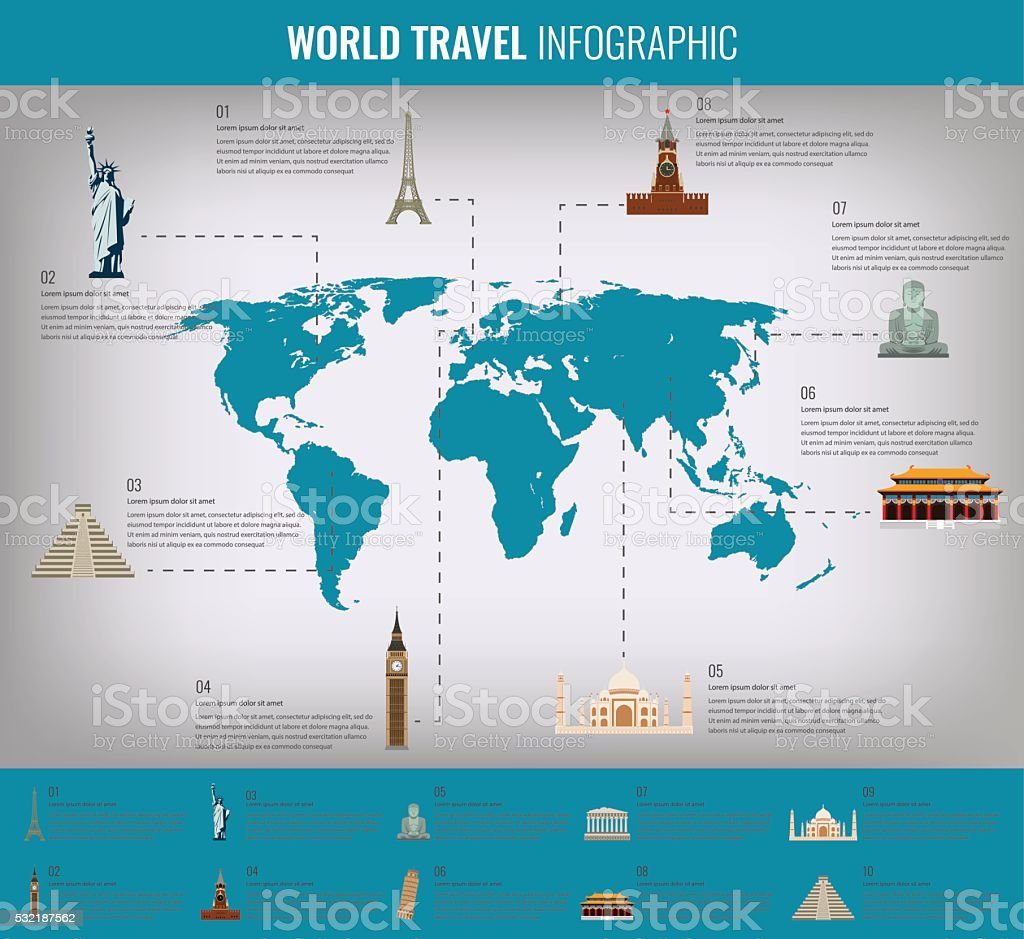 Infographic world landmarks on map.  Vector illustration royalty-free stock vector art