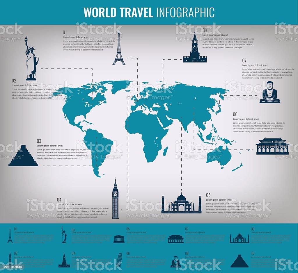 Infographic world landmarks on map.  Vector illustration vector art illustration