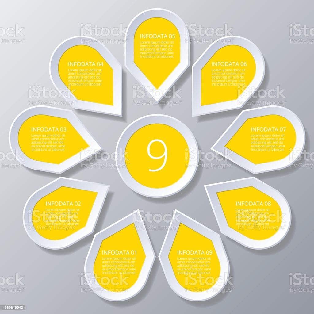 Infographic yellow Points arranged in sun circle with 9 steps. vector art illustration