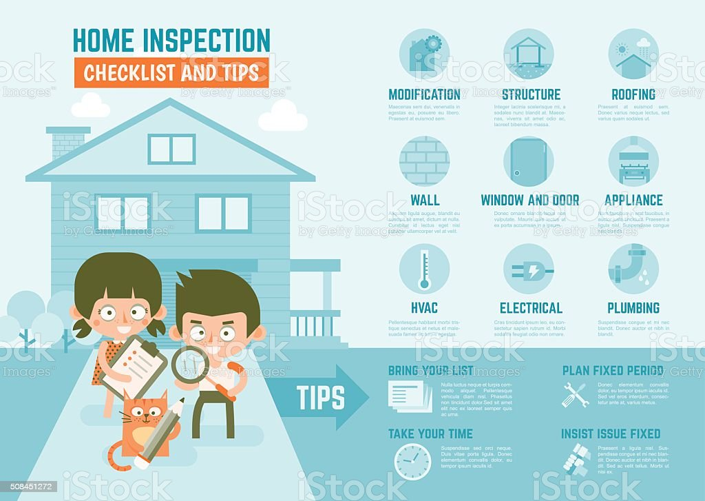 infographics about home inspection checklist and tips vector art illustration