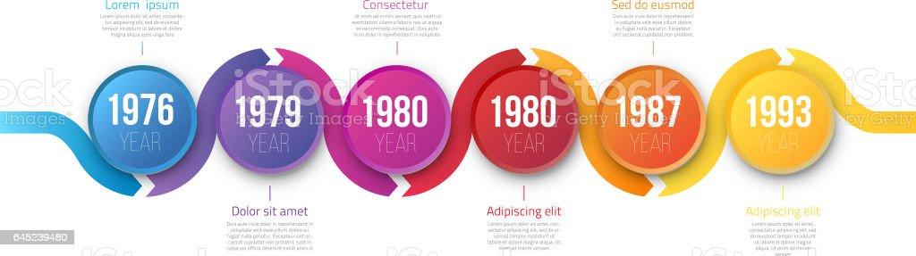 Infographics arrow timeline hystory template vector art illustration