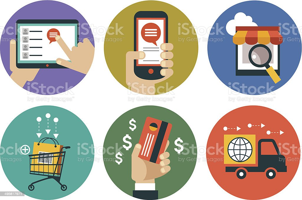 infographics background E-commerce vector art illustration