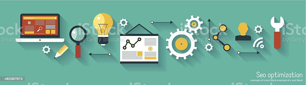 infographics background seo optimization vector art illustration