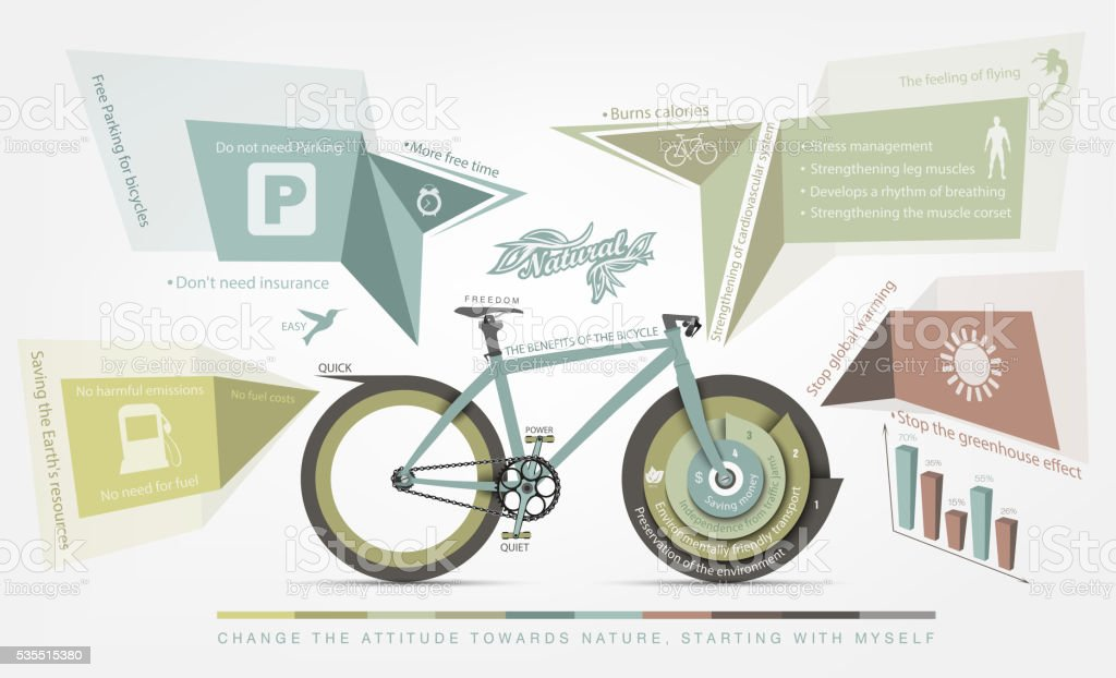 infographics benefits of bicycle use for humans vector art illustration