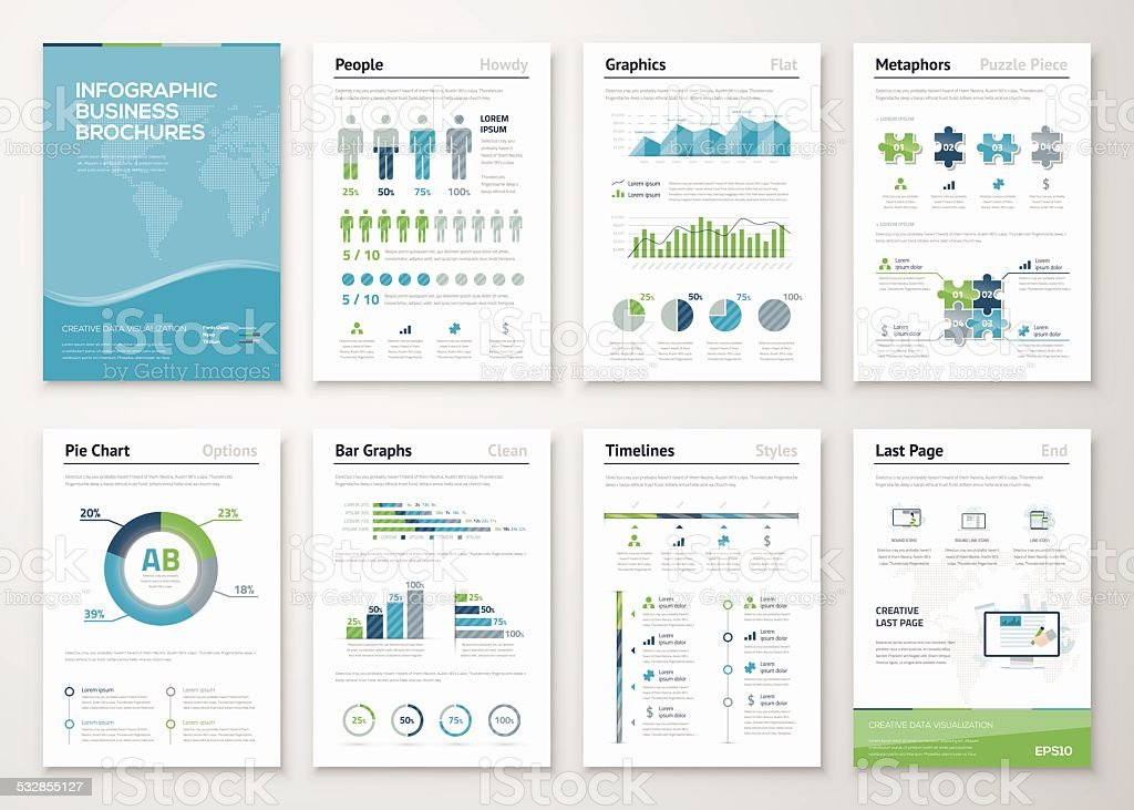 Infographics brochure elements for business data visualization vector art illustration