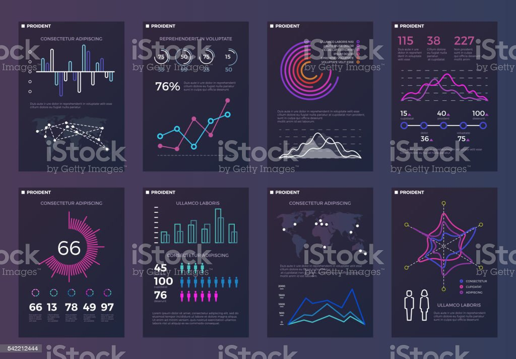 Infographics, brochures vector templates for business reports with line charts royalty-free stock vector art
