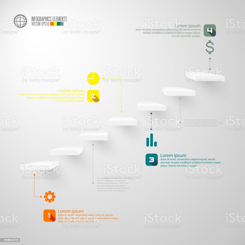 Infographics business staircase concept vector art illustration