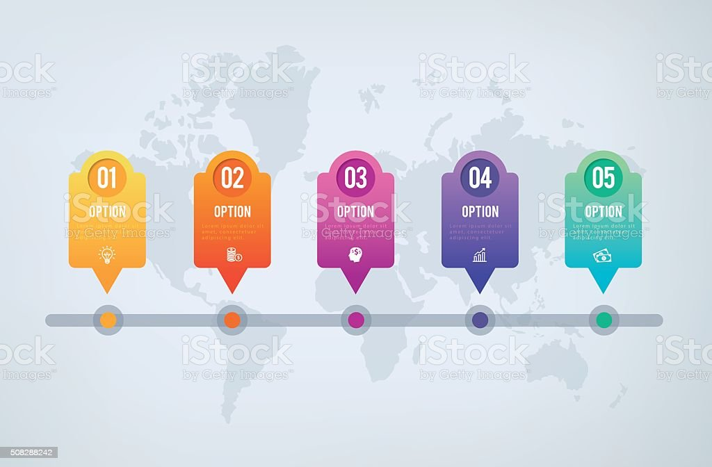 Infographics Chart - 5 steps sequence to success vector art illustration