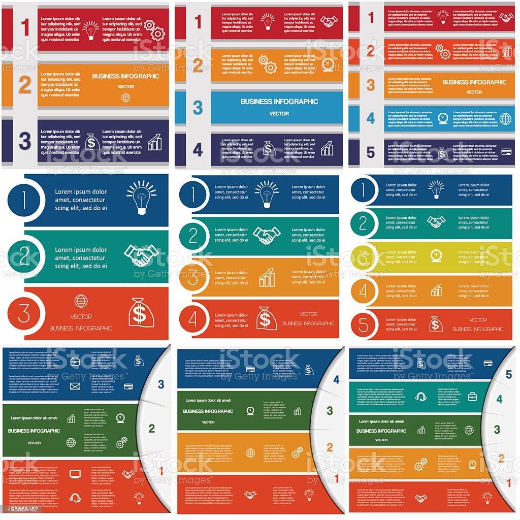 Infographics cyclic processes 3,4,5 options vector art illustration