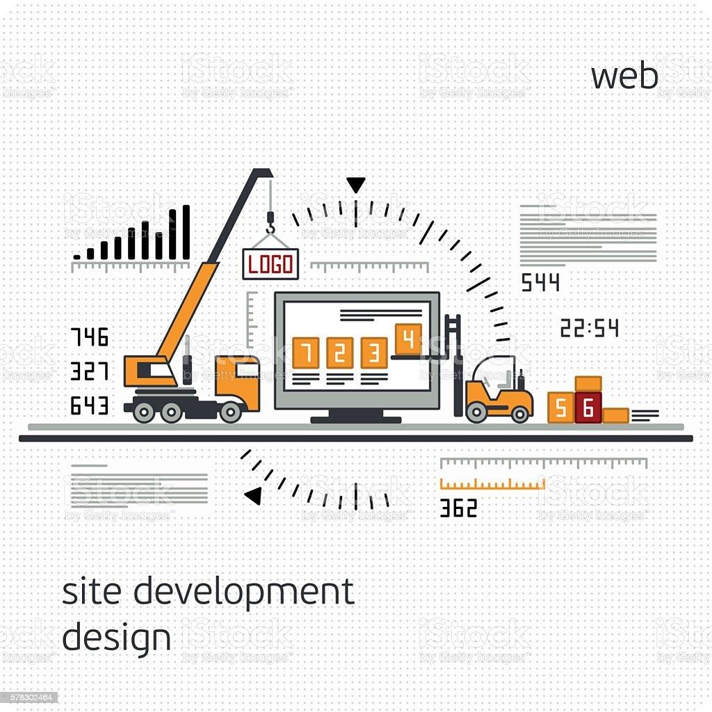 Infographics development site. vector art illustration